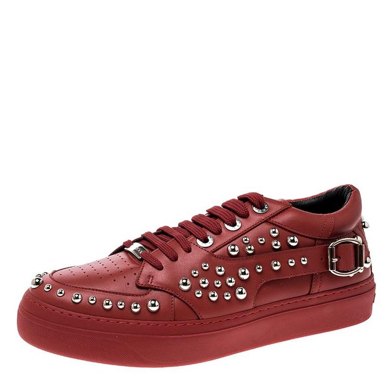Jimmy Choo Red Studded Leather Roman Sneakers Size 42 For Sale