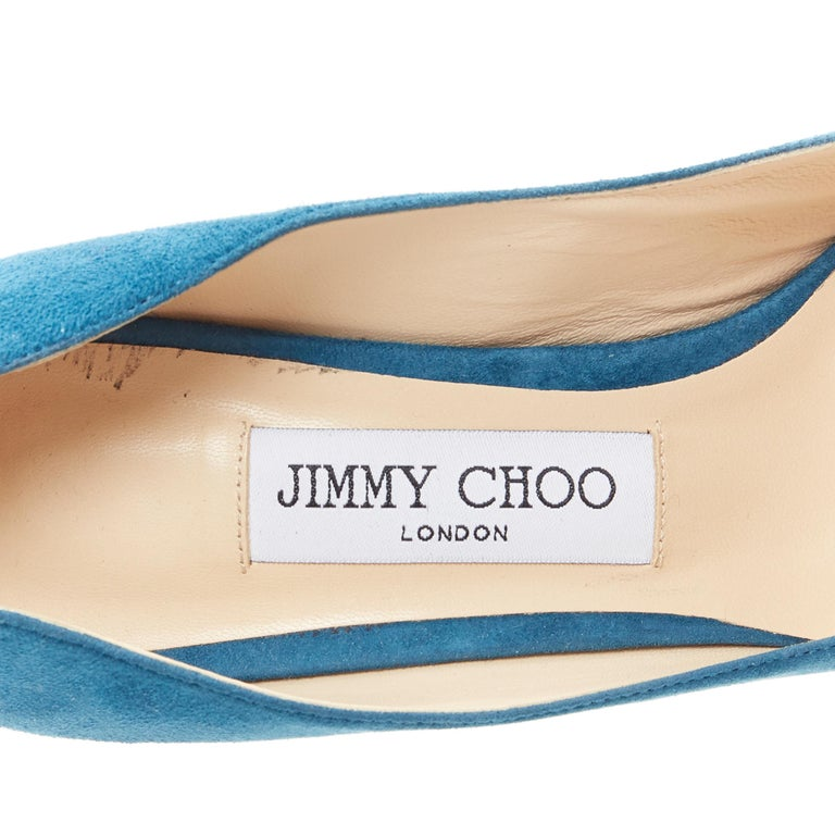 JIMMY CHOO Romy 85 teal blue suede leather point toe pigalle pump EU37 For Sale 5