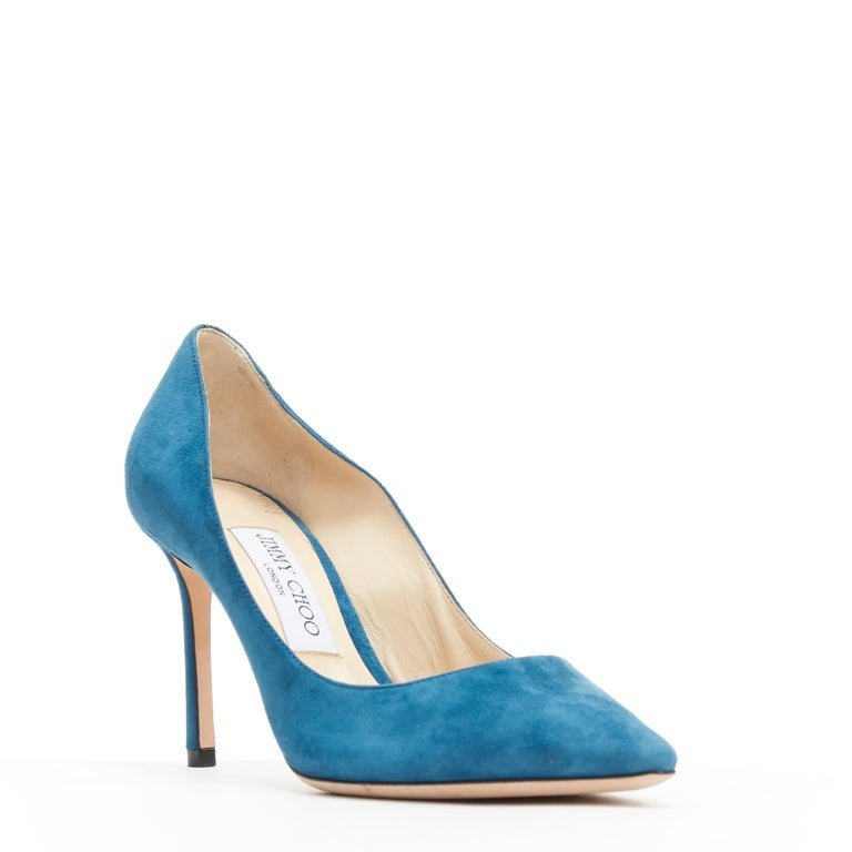 JIMMY CHOO Romy 85 teal blue suede leather point toe pigalle pump EU37 Brand: Jimmy Choo Model Name / Style: Romy 85 Material: Suede Color: Blue Pattern: Solid Extra Detail: High (3-3.9 in) heel height. Pointed toe. Slim heel. Made in: