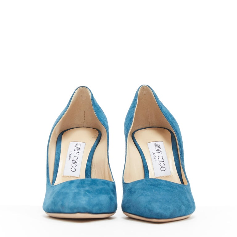 Blue JIMMY CHOO Romy 85 teal blue suede leather point toe pigalle pump EU37 For Sale