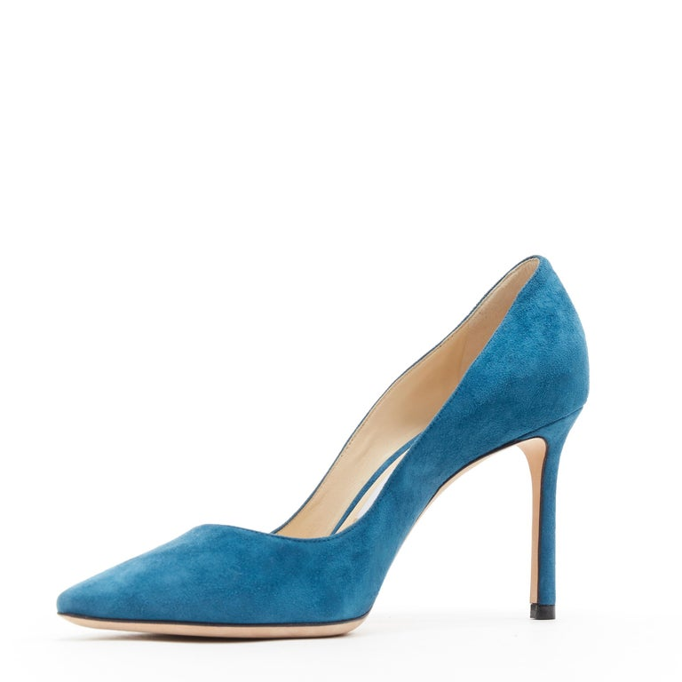 JIMMY CHOO Romy 85 teal blue suede leather point toe pigalle pump EU37 In Excellent Condition For Sale In Hong Kong, NT