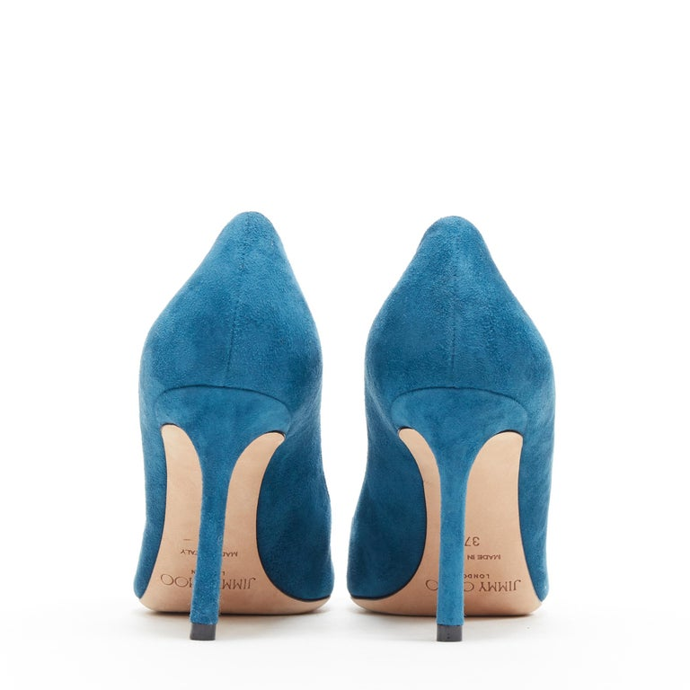 Women's JIMMY CHOO Romy 85 teal blue suede leather point toe pigalle pump EU37 For Sale