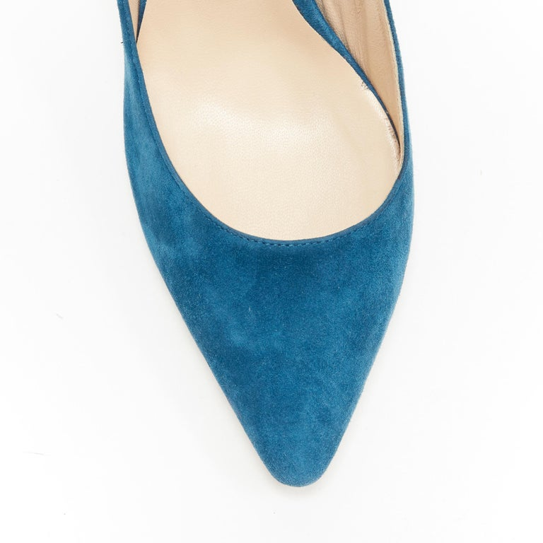 JIMMY CHOO Romy 85 teal blue suede leather point toe pigalle pump EU37 For Sale 2
