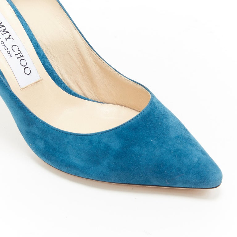 JIMMY CHOO Romy 85 teal blue suede leather point toe pigalle pump EU37 For Sale 3