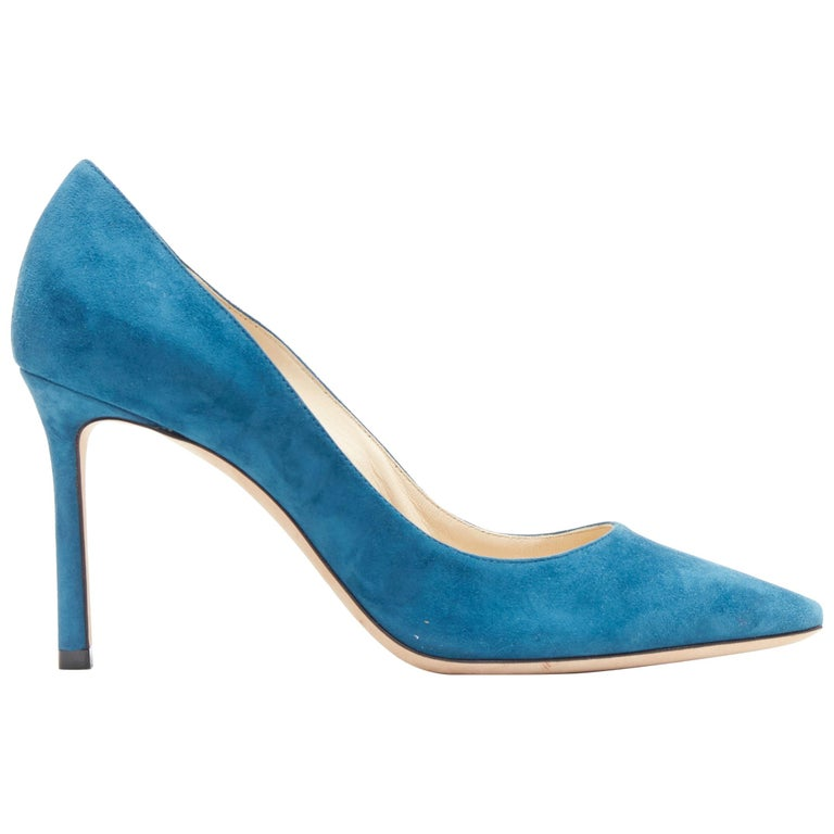 JIMMY CHOO Romy 85 teal blue suede leather point toe pigalle pump EU37 For Sale