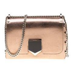 c260f37579 Jimmy Choo Rose Gold Metallic Leather Petite Lockett Crossbody Bag