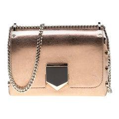 Jimmy Choo Rose Gold Metallic Leather Petite Lockett Crossbody Bag