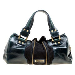 Jimmy Choo Sage Green/Black Patent Leather and Suede Marla Satchel