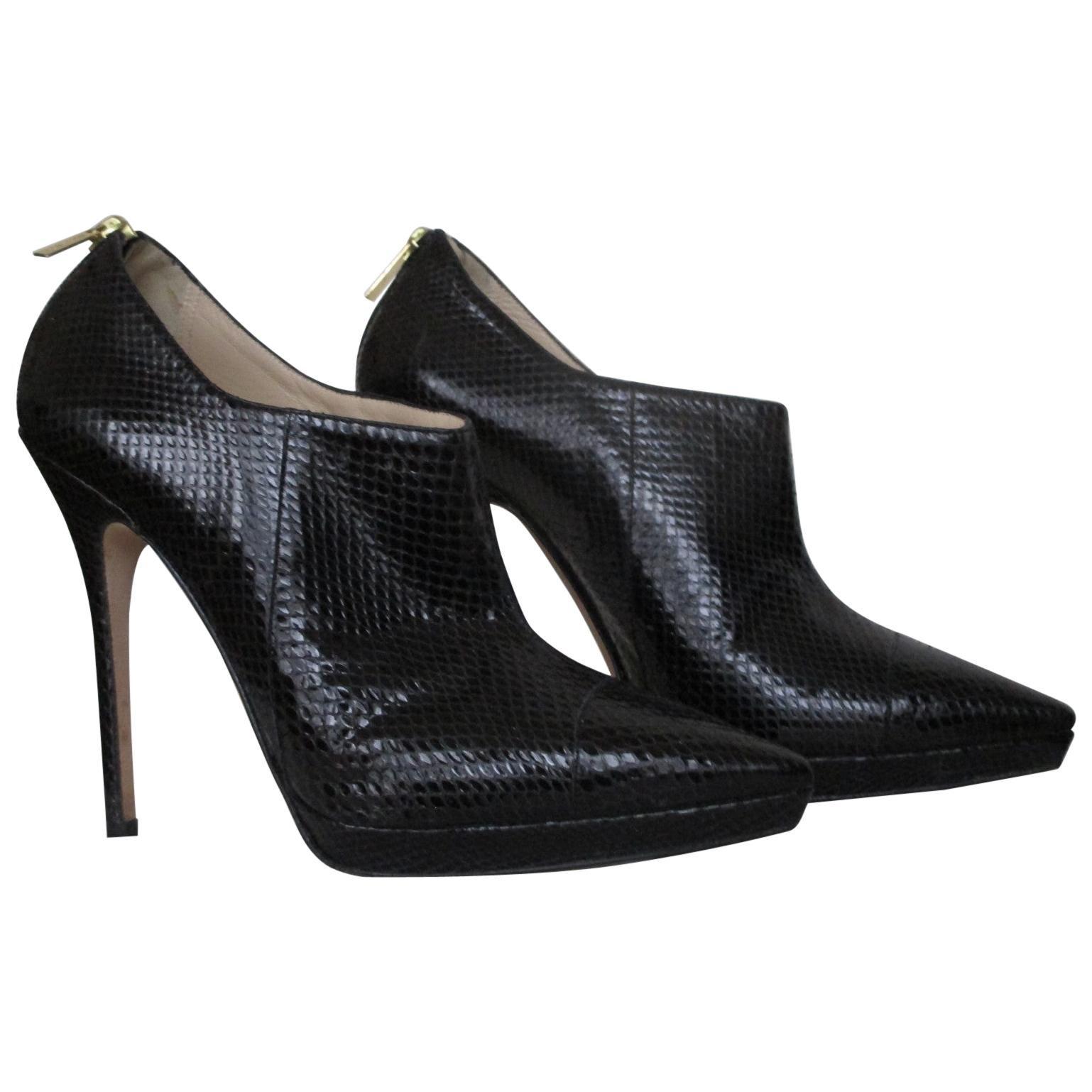 Jimmy Choo Sexy Stiletto Black Python Ankle Boots -us 8