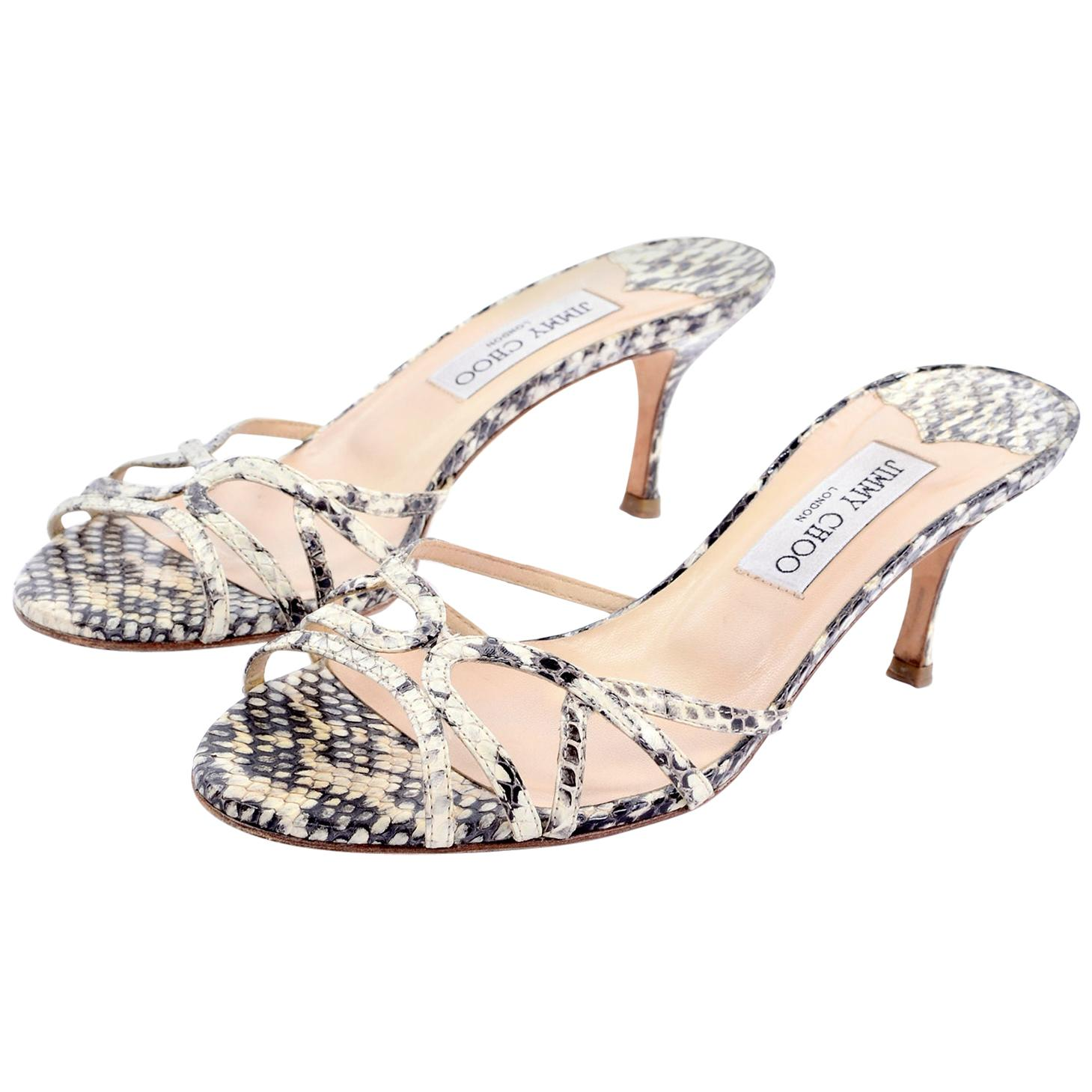 """Jimmy Choo Shoes Snakeskin Sandals With 3"""" Heel Size 38"""