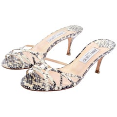 "Jimmy Choo Shoes Snakeskin Sandals With 3"" Heel Size 38"