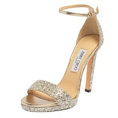 Jimmy Choo Silver Coarse Glitter Misty Sandals Size 39
