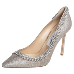 Jimmy Choo Silver Coarse Glitter Romy Crystal Embellished Pumps Size 39