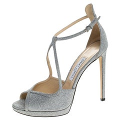 Jimmy Choo Silver Glitter Leather Fawne Ankle Strap Sandals Size 39.5