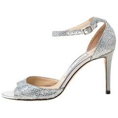 Jimmy Choo Silver Glitter Leather Misty Ankle Strap Sandals Size 36