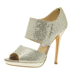 Jimmy Choo Silver Glitter Private Platform Sandals Size 36.5