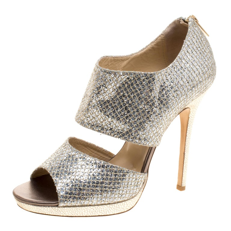 b34e3c061eb2 Jimmy Choo Silver Glitter Private Platform Sandals Size 40 For Sale at  1stdibs