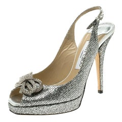 Jimmy Choo Silver Glitters Crystal Embellished Slingback Platform Sandals Size30