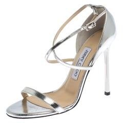 Jimmy Choo Silver Patent Leather Hesper Ankle Strap Sandals Size 36