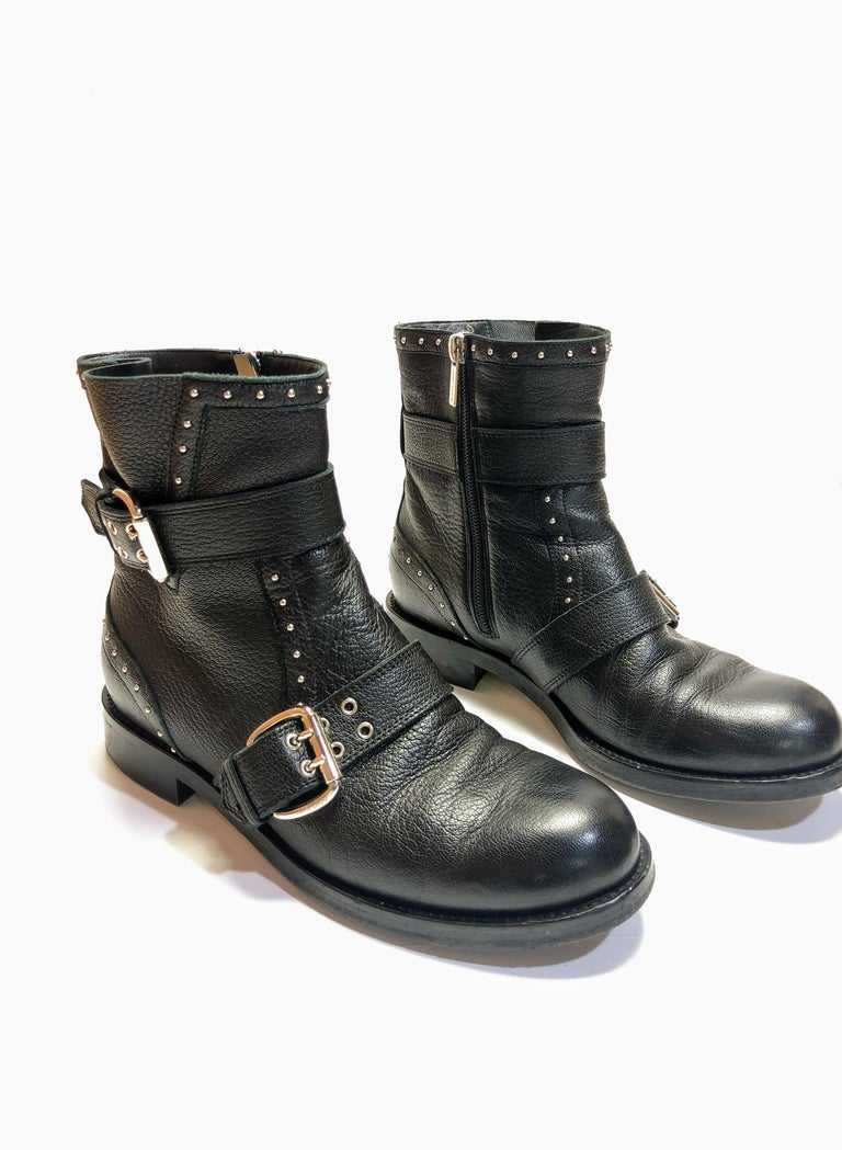 Jimmy Choo Black Silver Studded Ankle Boots w/ Buckle Detail. Size 8.
