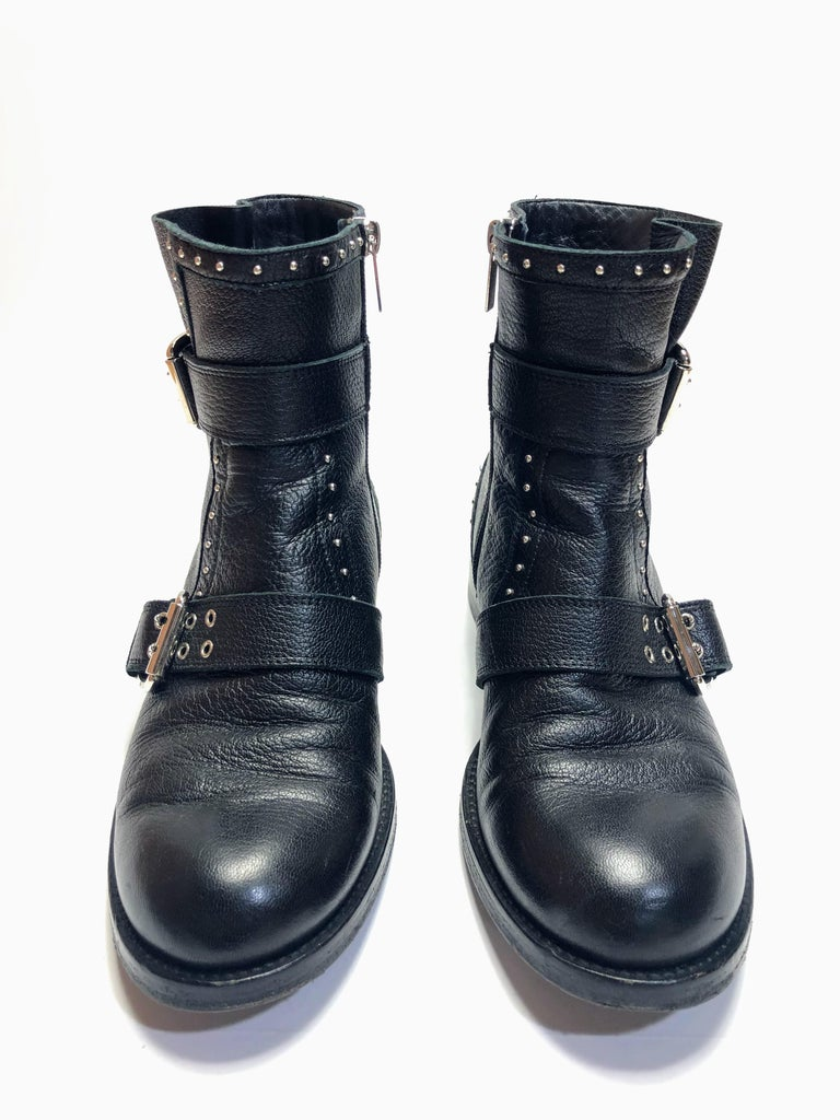Black Jimmy Choo Silver Studded Ankle Boots For Sale