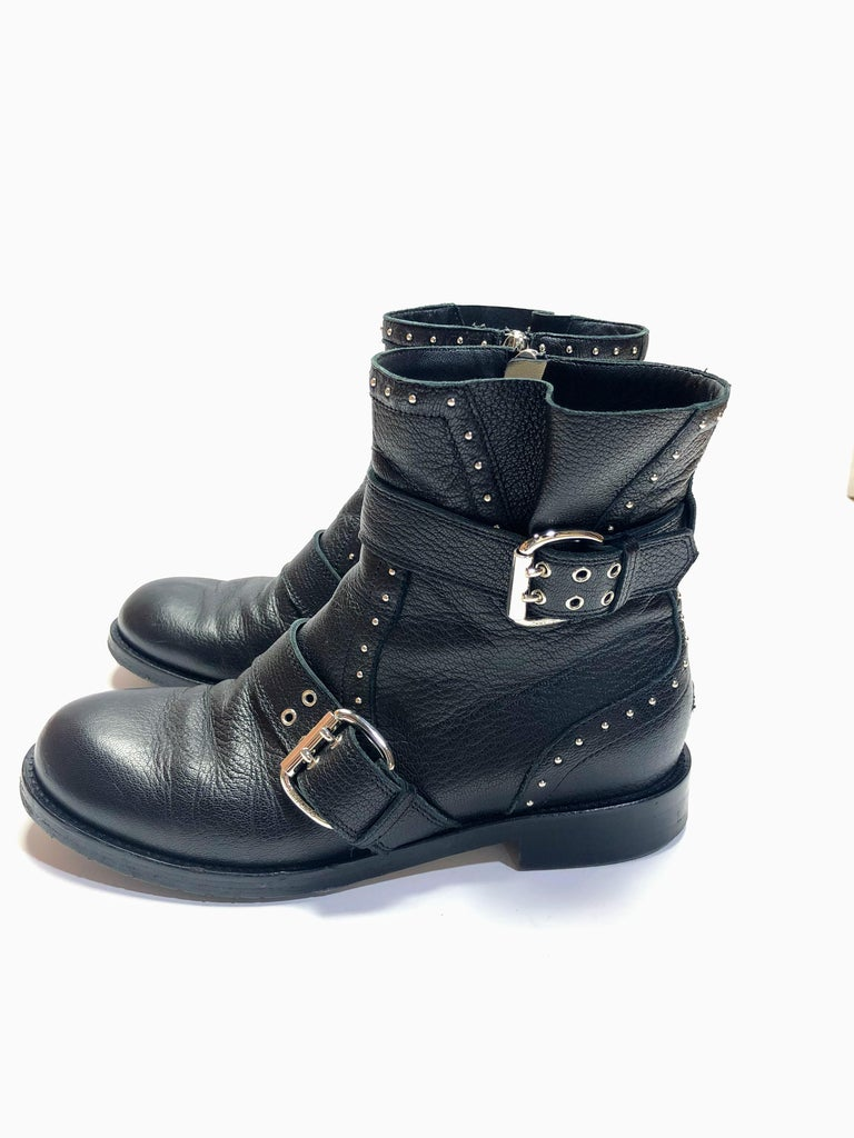 Jimmy Choo Silver Studded Ankle Boots In Good Condition For Sale In Southampton, NY