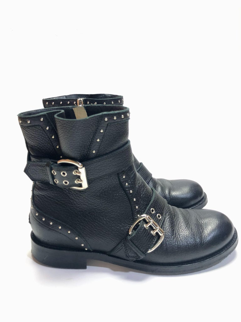 Jimmy Choo Silver Studded Ankle Boots For Sale 2