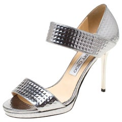 Jimmy Choo Silver Textured Leather Alana Open Toe Sandals Size 36.5