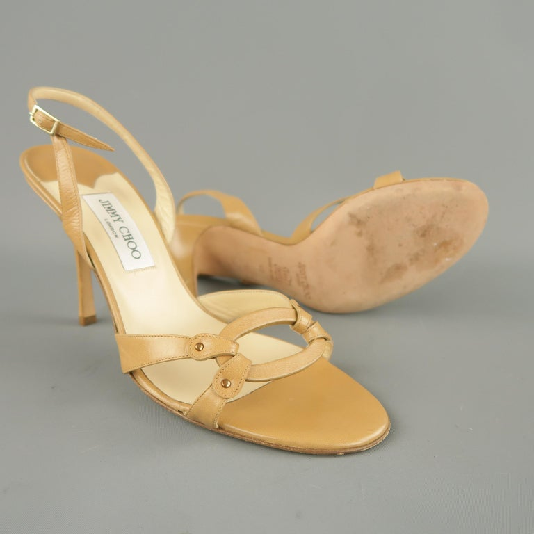 Brown JIMMY CHOO Size 12 Tan Leather Hoop Strap Slingback Sandals For Sale