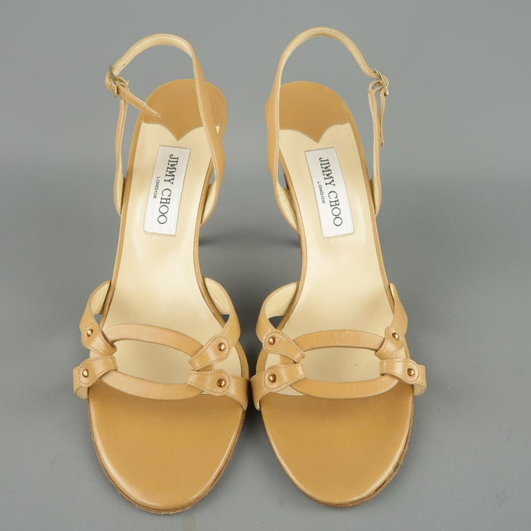 JIMMY CHOO Size 12 Tan Leather Hoop Strap Slingback Sandals In Good Condition For Sale In San Francisco, CA