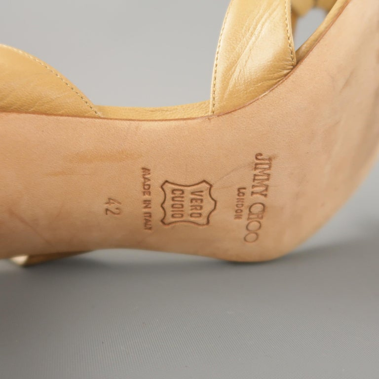 JIMMY CHOO Size 12 Tan Leather Hoop Strap Slingback Sandals For Sale 2