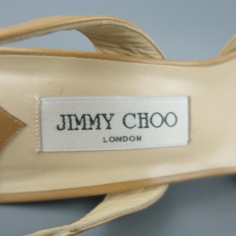 JIMMY CHOO Size 12 Tan Leather Hoop Strap Slingback Sandals For Sale 3