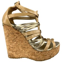 JIMMY CHOO Size 7 Beige & Silver Patent Leather Cork Wedge Platform Sandals