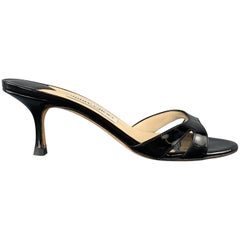 JIMMY CHOO Size 7.5 Black Patent Leather Cutout Mule Sandals