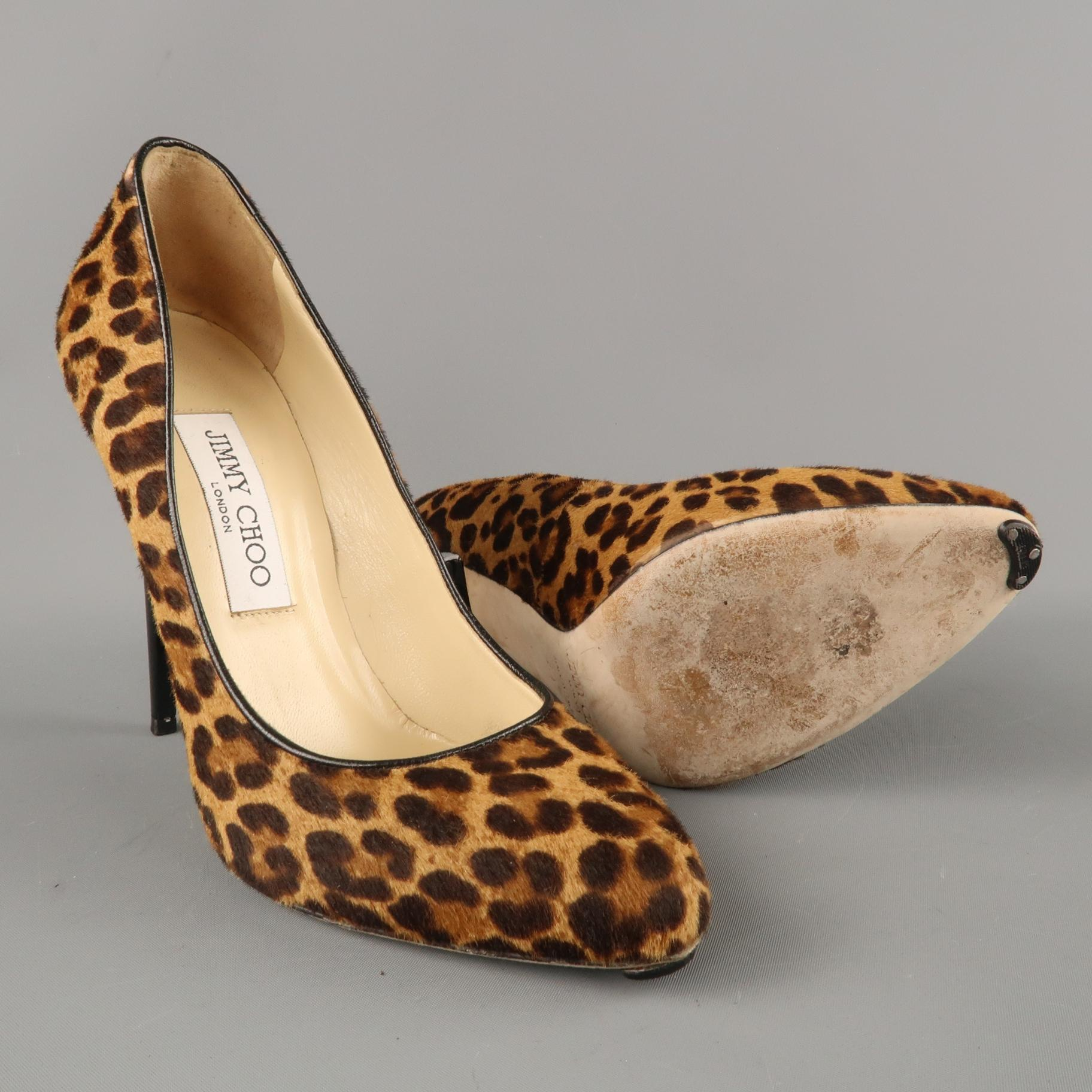 7bac694d7a15 JIMMY CHOO Size 7.5 Brown Leopard Print Calf Hair Victoria Pumps For Sale  at 1stdibs