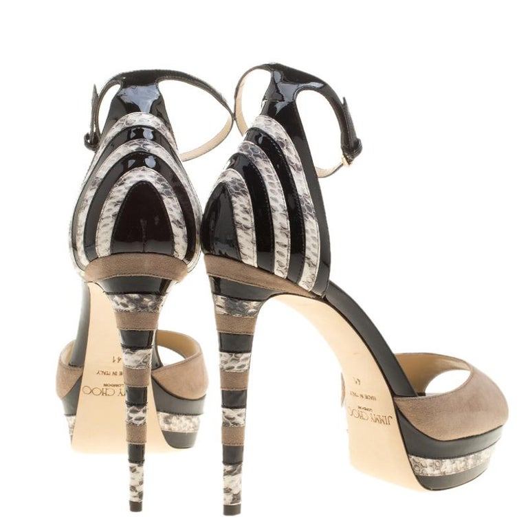 Brown Jimmy Choo Suede and Elaphe Leather Trim Max Ankle trap Platform Sandals Size 41 For Sale