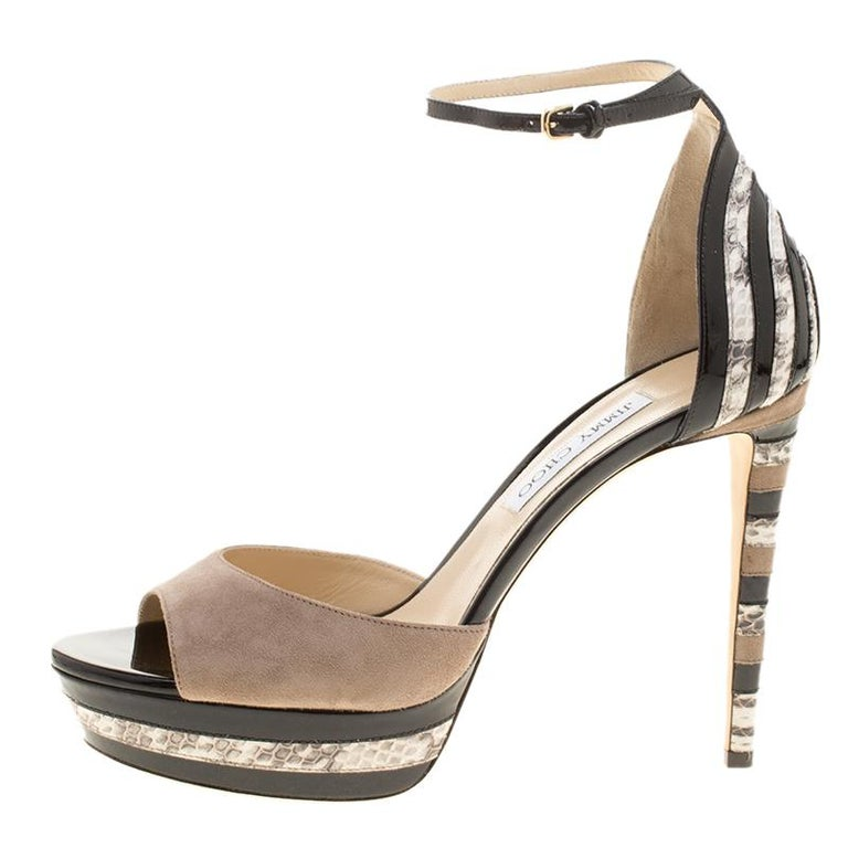 Women's Jimmy Choo Suede and Elaphe Leather Trim Max Ankle trap Platform Sandals Size 41 For Sale