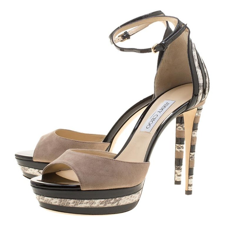 Jimmy Choo Suede and Elaphe Leather Trim Max Ankle trap Platform Sandals Size 41 For Sale 1