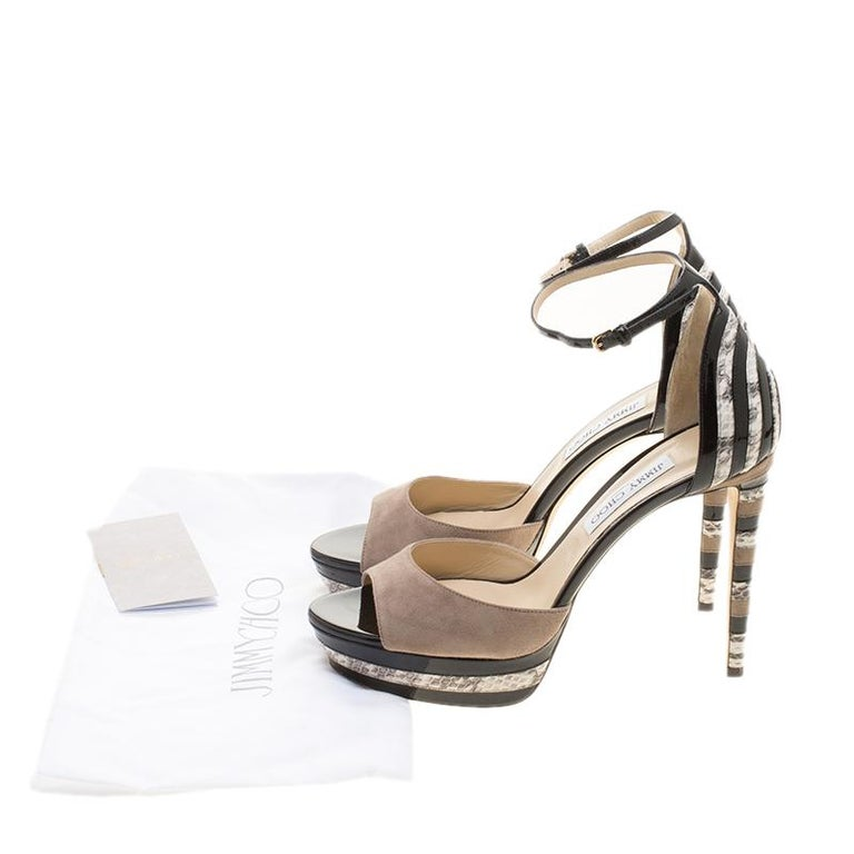 Jimmy Choo Suede and Elaphe Leather Trim Max Ankle trap Platform Sandals Size 41 For Sale 3