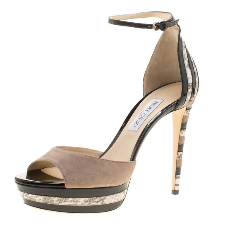 04b12b4b3d96 Jimmy Choo Suede and Elaphe Leather Trim Max Ankle trap Platform Sandals  Size 41 For Sale at 1stdibs