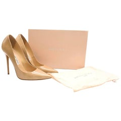 Jimmy Choo Tacco 120 Nude Patent Leather Pumps 38.5