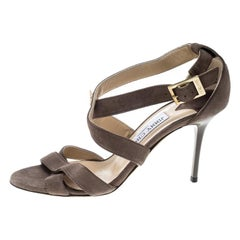 Jimmy Choo Taupe Brown Suede Lottie Strappy Sandals Size 37