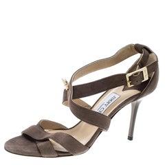 1ff2ddfdf74 Jimmy Choo Grey Suede Crystal Embellished Flat Thong Sandals Size 39.5 For  Sale at 1stdibs