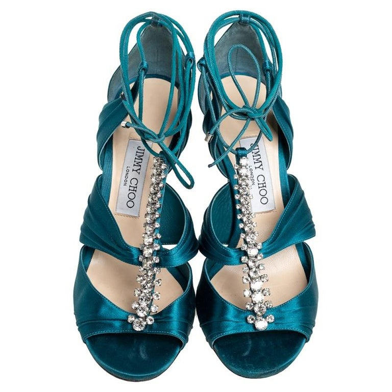 Women's Jimmy Choo Teal Blue Satin Kenny Embellished Ankle Wrap Sandals Size 39 For Sale