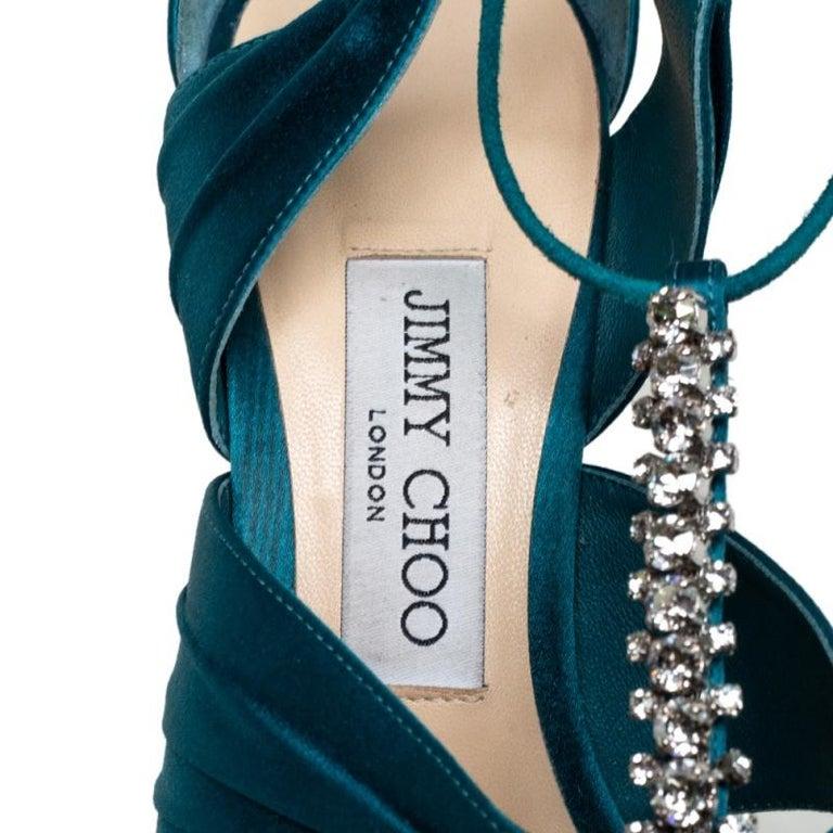 Jimmy Choo Teal Blue Satin Kenny Embellished Ankle Wrap Sandals Size 39 For Sale 3