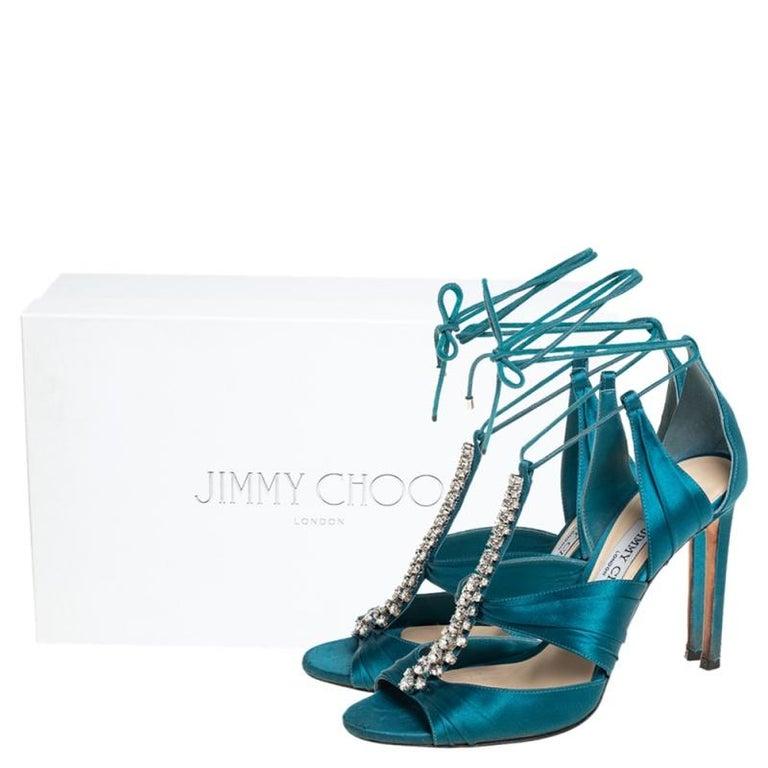Jimmy Choo Teal Blue Satin Kenny Embellished Ankle Wrap Sandals Size 39 For Sale 4