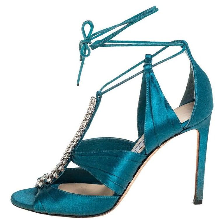 Jimmy Choo Teal Blue Satin Kenny Embellished Ankle Wrap Sandals Size 39 For Sale