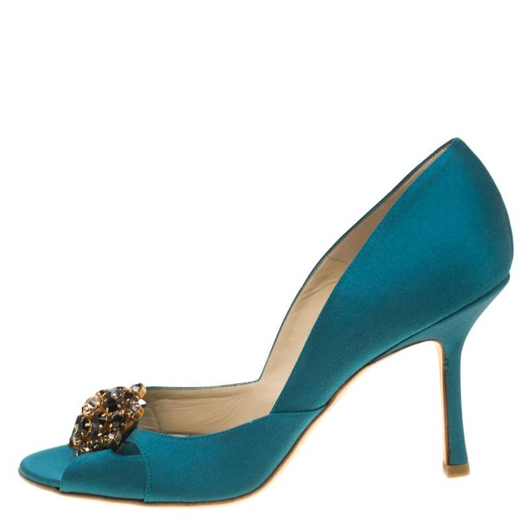 Jimmy Choo Turquoise Satin Crystal Embellished Cut Out Peep Toe Sandals 39.5 For Sale 1