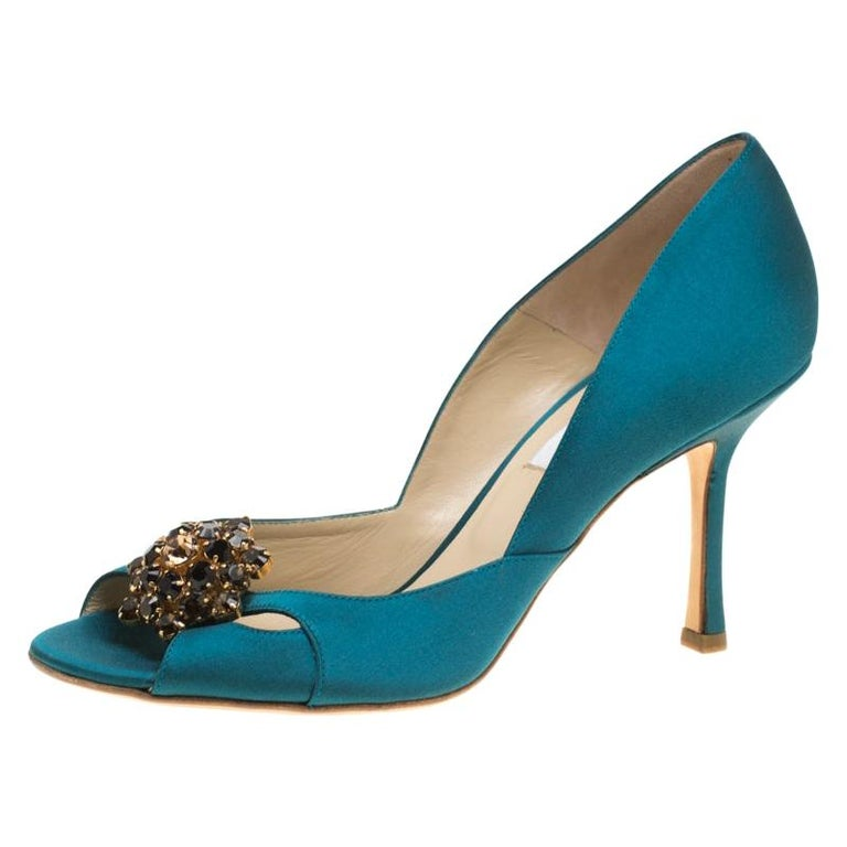 Jimmy Choo Turquoise Satin Crystal Embellished Cut Out Peep Toe Sandals 39.5 For Sale