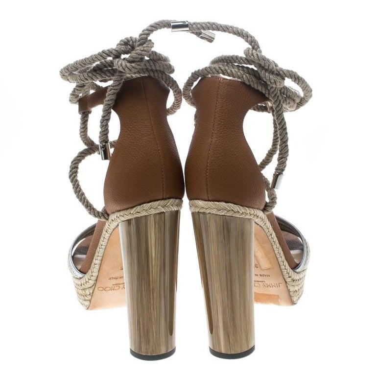 b525d7341fc Gray Jimmy Choo Two Tone Leather Mayje Espadrille Trim Ankle Tie Platform  Sandals Siz For Sale